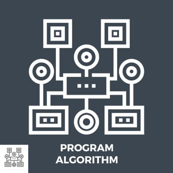 Program Algorithm Thin Line Vector Icon Isolated on the Black Background.