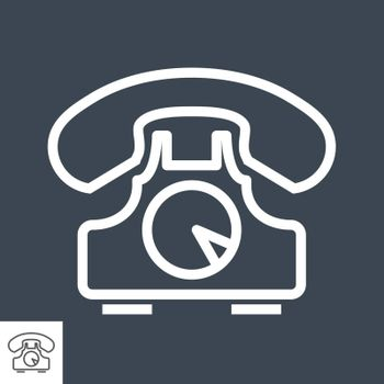 Phone Thin Line Vector Icon. Flat icon isolated on the black background. Editable EPS file. Vector illustration.