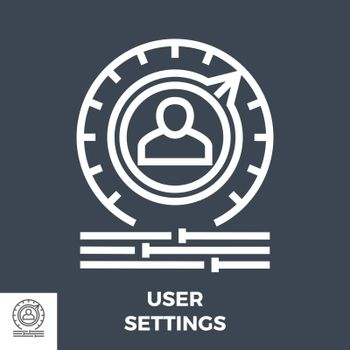 User Settings Thin Line Vector Icon Isolated on the Black Background.