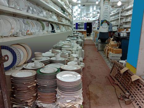 ceramic crockery stock on shop