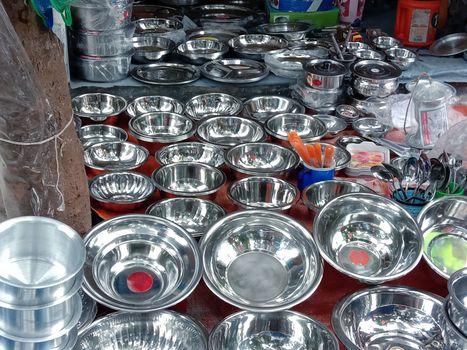 silver crockery stock on shop