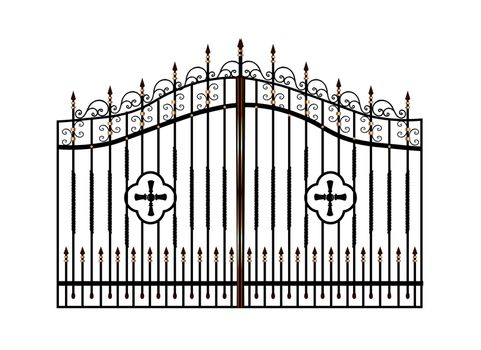Forged metal gates. Sketch. Victorian style. Artistic forging. Fencing.Doors for the temple, church, Christian cross. Entrance zone, front entrance.