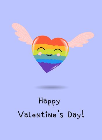 rainbow hearts, greeting card or banner for valentines day, cartoon style, cute holiday romantic poster.heart character.