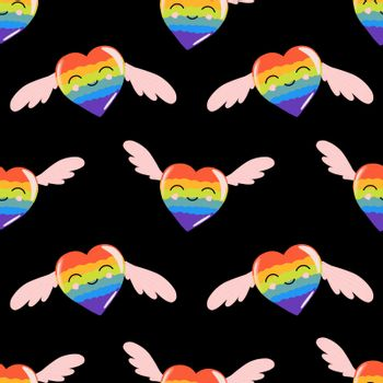 Rainbow hearts, seamless pattern for valentine's day lgbt, cartoon style, cute festive romantic background.