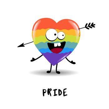 Gay Pride. LGBT concept. Cartoon vector colorful illustration. Valentine's Day. Rainbow heart. Lesbian-gay-bisexual-transgender. Rainbow love concept. Vector illustration.
