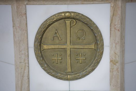 gilded Orthodox religious symbols in close-up in Podlasie, Polan