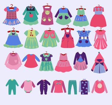 Vector hand drawn fashion dress for Girl clothes for spring and summer. Collection for girls. Collection of fashionable children's clothing.
