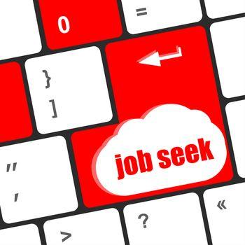 Keyboard key with enter button job seek, social concept