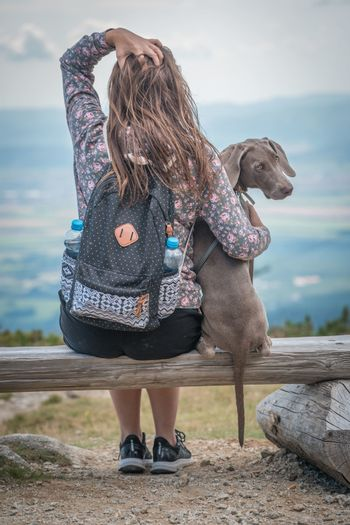 Young attractive woman with her dog enjoying the view from a bench in the mountains. Friendship with pets concept. Dog is sitting next to her.