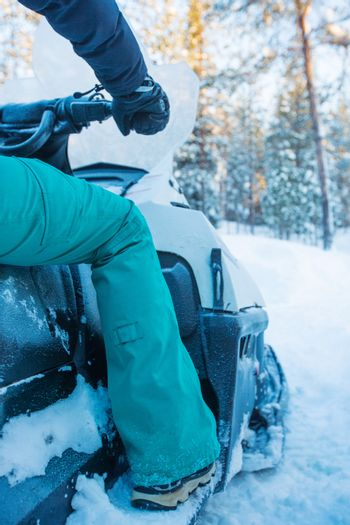 Rider on the snowmobile