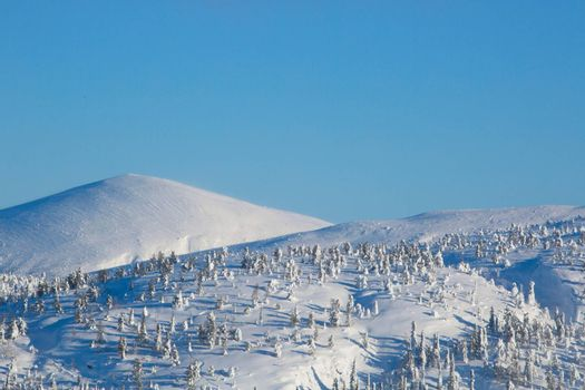 Landscape with snow covered mountain with panoramic view on Kandalaksha , ski resort