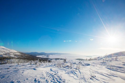 Winter panoramic view at White sea and mountains near Kandalaksha Russia , ?ross mountain