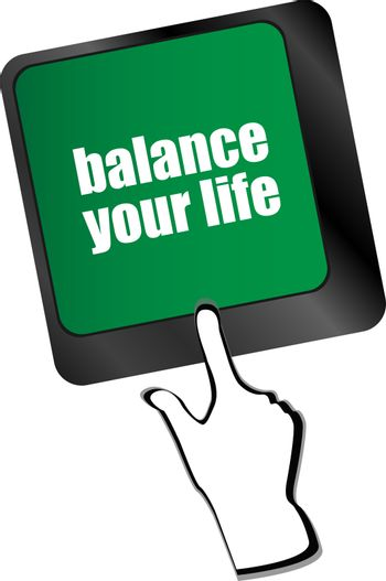 balance your life button on computer keyboard