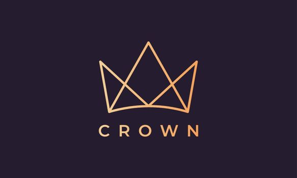 luxury gold royal crown logo in a minimalist and modern style