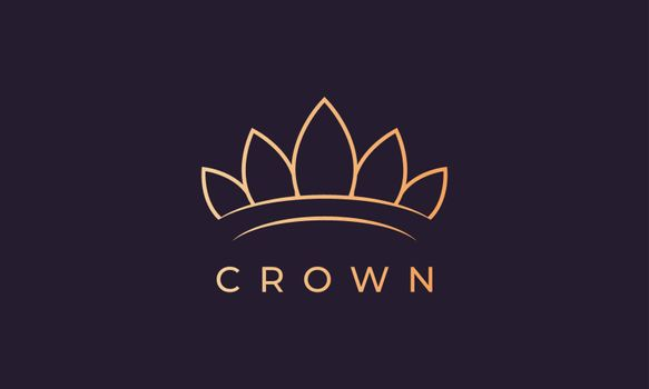 luxury gold royal crown logo with simple line art style