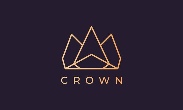 luxury gold royal crown logo in a simple and modern style