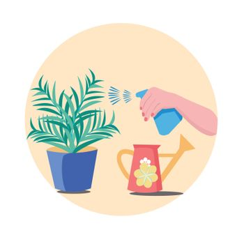 Hand sprays Plant in pot. Water Pulverizer Symbol with flower. Hand holding Spray Bottle for watering potted flowers. Care of houseplants and indoor gardening icon.