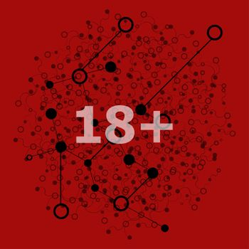 Text 18 plus. Social concept . Abstract background with connecting dots and lines