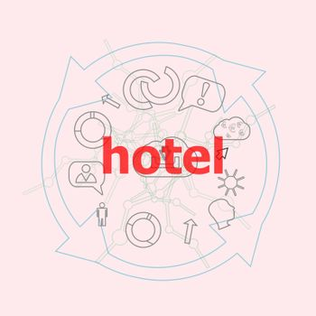 Text Hotel. Business concept . Flat outline linear Infographic