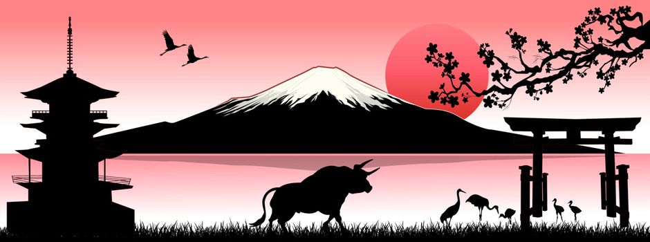 Japanese landscape with Mount Fuji and a bull as a symbol of the New Year according to the Eastern calendar. Rising Sun. Pagoda, birds, and gates.