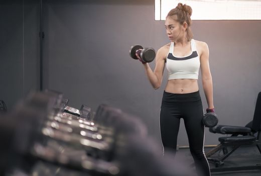 Young healthy woman lifting dumbbells in fitness gym