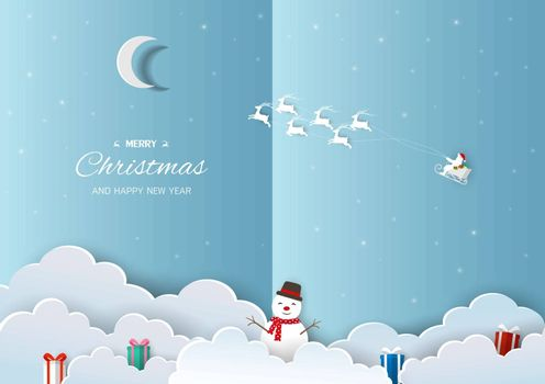 Merry Christmas and Happy new year greeting card,Santa Claus flying on sleigh pulled by reindeer on night winter background,vector illustration