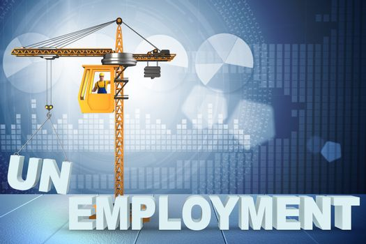 Unemployment concept with crane lifting letters