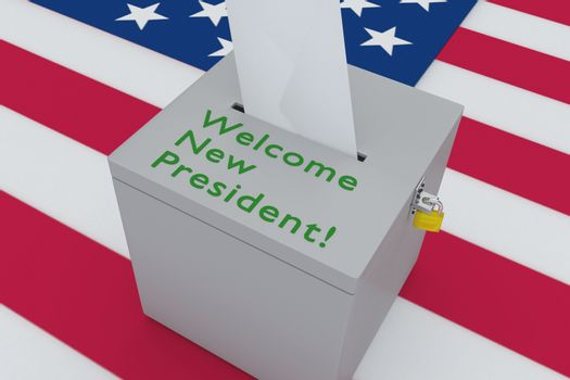 3D illustration of Welcome New President! script on a ballot box, with US flag as a background.