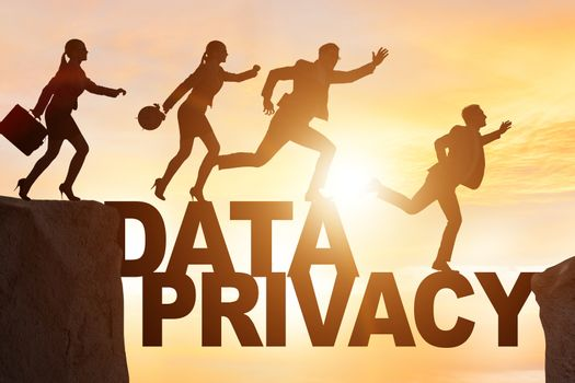 Business people escaping responsibility for data privacy