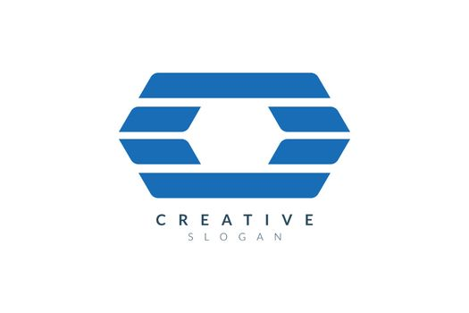 Elongated hexagon abstract logo design. Minimalist and modern vector illustration design suitable for business or brand.
