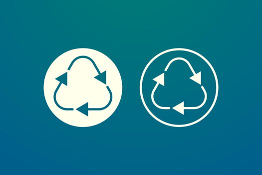 Recycling or reuse symbols. Minimalist vector design in gold