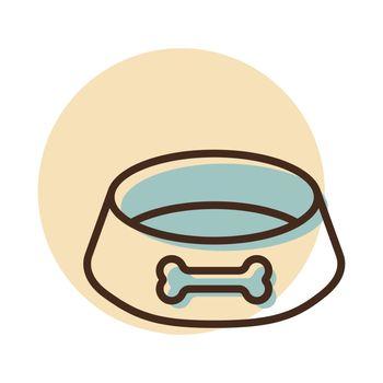 Pet dog bowl vector icon. Pet animal sign