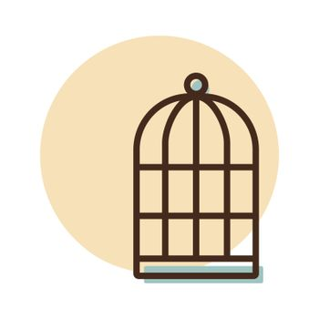 Empty bird cage vector icon. Pet animal sign