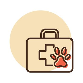 Pet first aid kit vector icon. Clinic box sign