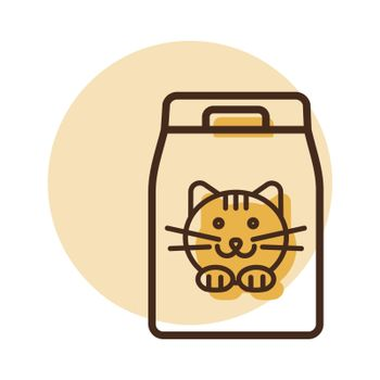 Cat food bag vector icon. Pet animal sign