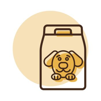 Dog food bag vector icon. Pet animal sign