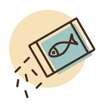 Pet fish feed vector icon. Pet animal sign