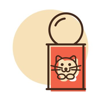 Pet cat food can vector icon. Pet animal sign