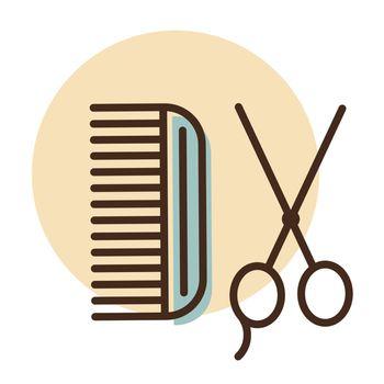 Animal grooming, hairbrush and scissors icon