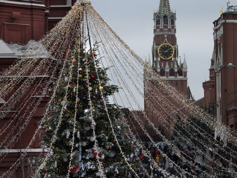 Russia Moscow. Christmas illuminations of the Moscow Kremlin.