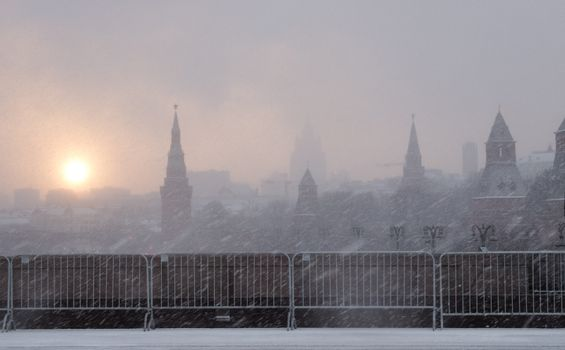 Russia, Moscow city center in a strong snowstorm.