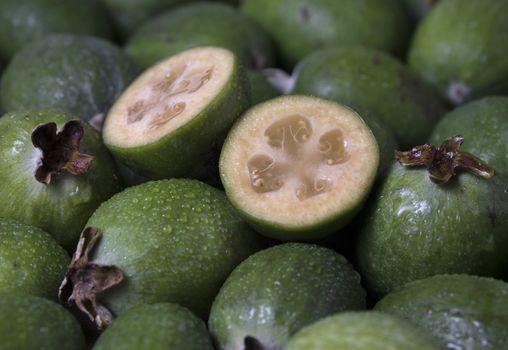 Green feijoa fruit (Acca sellowiana) background pattern.