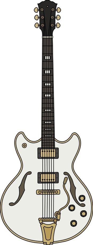 The retro white electric guitar