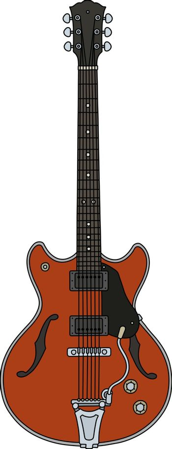 The old red electric guitar