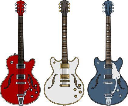 Three retro electric guitars