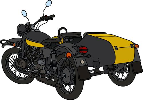 The retro black and yellow sidecar
