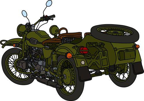 The classic khaki green sidecar