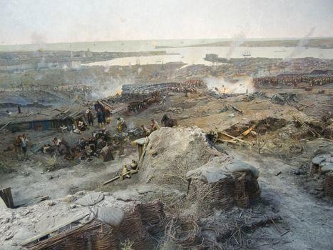 Republic of Crimea, Sevastopol - June 20, 2019: Reconstruction of the events of the defense of Sevastopol in the Crimean War of 1854-55.