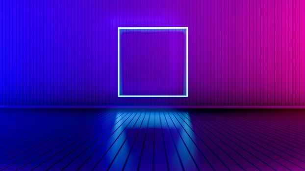 Empty room with glowing lines.