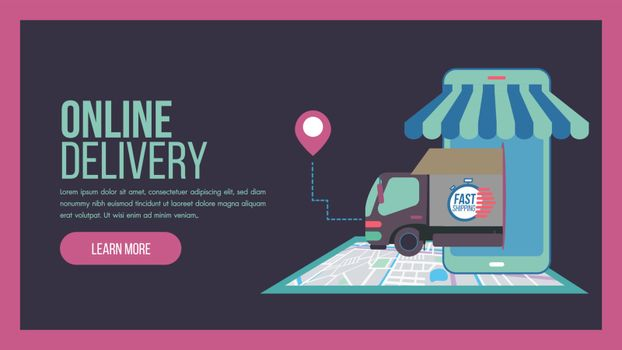 Online delivery service concept landing page with truck and staff service. This design can be used for websites, landing pages.Internet shipping web banner with modern city.Vector illustration.